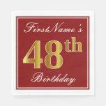 [ Thumbnail: Elegant Red, Faux Gold 48th Birthday + Custom Name Napkin ]