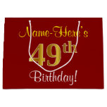 [ Thumbnail: Elegant, Red, Faux Gold 49th Birthday; Custom Name Gift Bag ]
