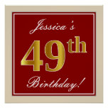 [ Thumbnail: Elegant, Red, Faux Gold 49th Birthday; Custom Name Poster ]