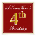 [ Thumbnail: Elegant, Red, Faux Gold 4th Birthday + Custom Name Invitation ]