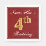 [ Thumbnail: Elegant Red, Faux Gold 4th Birthday + Custom Name Paper Napkin ]