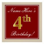 [ Thumbnail: Elegant, Red, Faux Gold 4th Birthday + Custom Name Poster ]