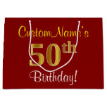 [ Thumbnail: Elegant, Red, Faux Gold 50th Birthday; Custom Name Gift Bag ]