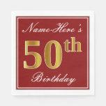 [ Thumbnail: Elegant Red, Faux Gold 50th Birthday + Custom Name Paper Napkin ]