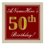 [ Thumbnail: Elegant, Red, Faux Gold 50th Birthday; Custom Name Poster ]