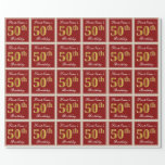 [ Thumbnail: Elegant, Red, Faux Gold 50th Birthday; Custom Name Wrapping Paper ]