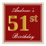 [ Thumbnail: Elegant, Red, Faux Gold 51st Birthday; Custom Name Invitation ]
