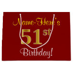 [ Thumbnail: Elegant, Red, Faux Gold 51st Birthday; Custom Name Gift Bag ]