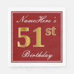 [ Thumbnail: Elegant Red, Faux Gold 51st Birthday + Custom Name Napkin ]