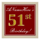 [ Thumbnail: Elegant, Red, Faux Gold 51st Birthday; Custom Name Poster ]