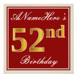 [ Thumbnail: Elegant, Red, Faux Gold 52nd Birthday; Custom Name Invitation ]