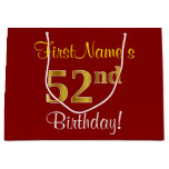 [ Thumbnail: Elegant, Red, Faux Gold 52nd Birthday; Custom Name Gift Bag ]