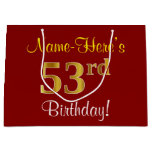 [ Thumbnail: Elegant, Red, Faux Gold 53rd Birthday; Custom Name Gift Bag ]