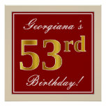 [ Thumbnail: Elegant, Red, Faux Gold 53rd Birthday; Custom Name Poster ]