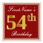 [ Thumbnail: Elegant, Red, Faux Gold 54th Birthday; Custom Name Invitation ]