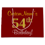 [ Thumbnail: Elegant, Red, Faux Gold 54th Birthday; Custom Name Gift Bag ]