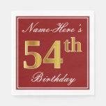 [ Thumbnail: Elegant Red, Faux Gold 54th Birthday + Custom Name Napkin ]