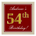 [ Thumbnail: Elegant, Red, Faux Gold 54th Birthday; Custom Name Poster ]