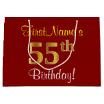 [ Thumbnail: Elegant, Red, Faux Gold 55th Birthday; Custom Name Gift Bag ]
