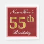 [ Thumbnail: Elegant Red, Faux Gold 55th Birthday + Custom Name Paper Napkin ]