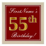 [ Thumbnail: Elegant, Red, Faux Gold 55th Birthday; Custom Name Poster ]