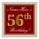 [ Thumbnail: Elegant, Red, Faux Gold 56th Birthday; Custom Name Poster ]