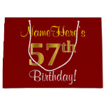 [ Thumbnail: Elegant, Red, Faux Gold 57th Birthday; Custom Name Gift Bag ]
