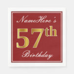 [ Thumbnail: Elegant Red, Faux Gold 57th Birthday + Custom Name Napkin ]