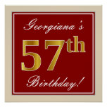 [ Thumbnail: Elegant, Red, Faux Gold 57th Birthday; Custom Name Poster ]