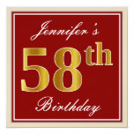 [ Thumbnail: Elegant, Red, Faux Gold 58th Birthday; Custom Name Invitation ]