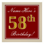 [ Thumbnail: Elegant, Red, Faux Gold 58th Birthday; Custom Name Poster ]