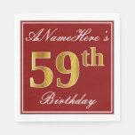 [ Thumbnail: Elegant Red, Faux Gold 59th Birthday + Custom Name Napkin ]