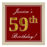 [ Thumbnail: Elegant, Red, Faux Gold 59th Birthday; Custom Name Poster ]