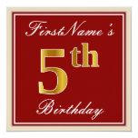 [ Thumbnail: Elegant, Red, Faux Gold 5th Birthday + Custom Name Invitation ]