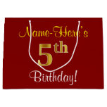 [ Thumbnail: Elegant, Red, Faux Gold 5th Birthday + Custom Name Gift Bag ]