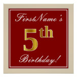 [ Thumbnail: Elegant, Red, Faux Gold 5th Birthday + Custom Name Poster ]
