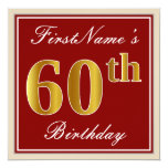 [ Thumbnail: Elegant, Red, Faux Gold 60th Birthday; Custom Name Invitation ]