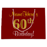 [ Thumbnail: Elegant, Red, Faux Gold 60th Birthday; Custom Name Gift Bag ]