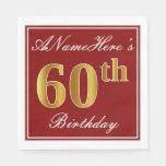 [ Thumbnail: Elegant Red, Faux Gold 60th Birthday + Custom Name Paper Napkin ]