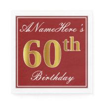 Elegant Red, Faux Gold 60th Birthday   Custom Name Paper Napkin