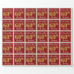[ Thumbnail: Elegant, Red, Faux Gold 60th Birthday; Custom Name Wrapping Paper ]