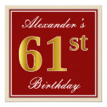 [ Thumbnail: Elegant, Red, Faux Gold 61st Birthday; Custom Name Invitation ]