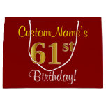 [ Thumbnail: Elegant, Red, Faux Gold 61st Birthday; Custom Name Gift Bag ]