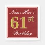 [ Thumbnail: Elegant Red, Faux Gold 61st Birthday + Custom Name Napkin ]