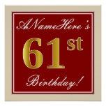 [ Thumbnail: Elegant, Red, Faux Gold 61st Birthday; Custom Name Poster ]