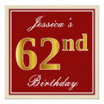 [ Thumbnail: Elegant, Red, Faux Gold 62nd Birthday; Custom Name Invitation ]