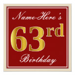 [ Thumbnail: Elegant, Red, Faux Gold 63rd Birthday; Custom Name Invitation ]