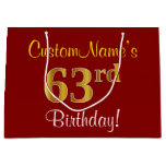 [ Thumbnail: Elegant, Red, Faux Gold 63rd Birthday; Custom Name Gift Bag ]