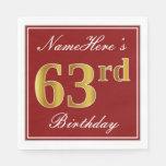 [ Thumbnail: Elegant Red, Faux Gold 63rd Birthday + Custom Name Napkin ]