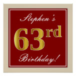 [ Thumbnail: Elegant, Red, Faux Gold 63rd Birthday; Custom Name Poster ]